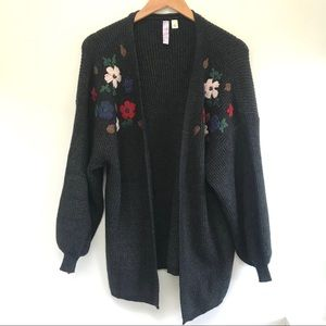 EUC Alya Embroidered floral open front sweater